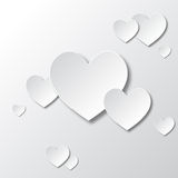 Paper White Hearts. Valentines day card Stock Image