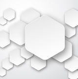 Paper white hexagonal notes Royalty Free Stock Images