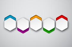 Paper white hexagonal notes Stock Image