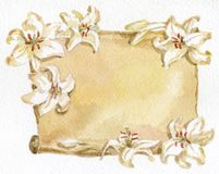 Paper and white lilies. Illustration with Paper and white lilies. Watercolor royalty free illustration