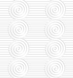 Paper white merging spirals on continues lines Stock Images