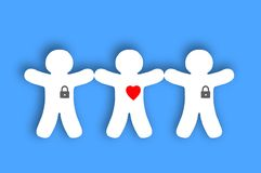 Paper white people with locked hearts over blue Royalty Free Stock Photos
