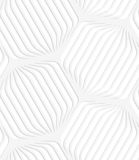 Paper white rounded striped hexagons Stock Photos