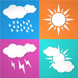 Paper white weather icon. On colorful background. from background. Layered Stock Illustration