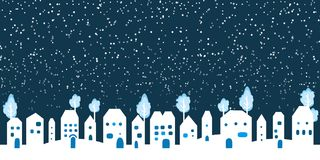 Paper white Winter Snow Countryside Landscape. Happy new year and Merry Christmas paper art, cut and craft style banner. Vector illustration. Holly Night Royalty Free Stock Images