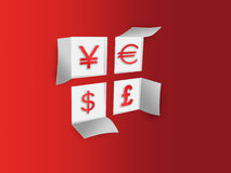 Paper window with with currency symbols dollar, euro, pound, yen Royalty Free Stock Photo