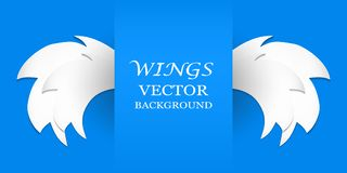 Paper wings on a blue background. Vector paper wings on a blue background vector illustration