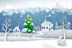 Paper winter and evergreen tree. Paper cut and craft winter landscape with evergreen tree, house, snowman, moon and snowflakes. Holiday nature and christmas tree Royalty Free Stock Photo