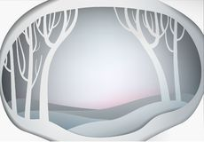 Paper winter forest landscape, paper winter fairy tale background,. Vector vector illustration