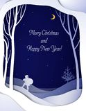 Paper winter forest night landscape card with Santa and Christmas tree , paper winter fairytale background with going Santa and royalty free illustration