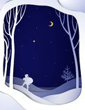 Paper winter forest night landscape card with Santa and Christmas tree, vector illustration