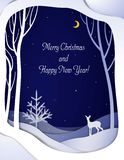 Paper winter forest night landscape card with young deer and Christmas tree , paper winter fairytale background with bambi and stock illustration