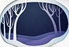Paper winter forest night landscape, paper winter fairy tale background,. Vector royalty free illustration