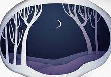 Paper winter forest night landscape, paper winter fairy tale background,. Vector stock illustration