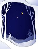 Paper winter forest night landscape with white hare and Christmas tree, paper winter fairytale background , stock illustration