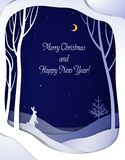 Paper winter forest night landscape with white hare and Christmas tree, paper winter fairytale background with text, royalty free illustration