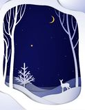 Paper winter forest night landscape with young deer and Christmas tree, paper winter fairytale background with bambi, stock illustration
