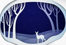 Paper winter forest night landscape with young deer, paper winter fairy tale background with bambi, stock illustration