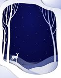 Paper winter forest night landscape with young deer, paper winter fairy tale background with bambi,. Vector vector illustration