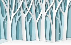 Free Paper Winter Forest. White Frozen Trees Silhouettes, Christmas Season Natural Paper Cut Landscape. 3d Origami Vector Stock Photo - 155707520