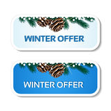 Paper winter offer, blue stickers on the white background - Christmas sale label with with pinecones and twig Stock Image