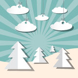 Paper Winter Vector Landscape with Trees stock illustration