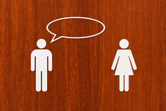 Paper woman and man is talking. Relation concept. Abstract conceptual Royalty Free Stock Images