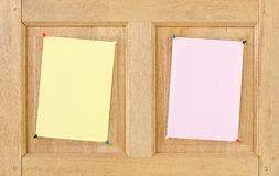 Paper on wood. Royalty Free Stock Photography