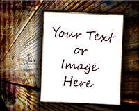 Paper On Wood Background. A blank, white framed paper on a brown wood grunge background ready for your text, image or photograph royalty free stock image
