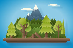 Paper Wood under Mountain Flat Design Landscape Background Template Vector Illustration Stock Image