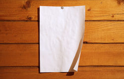 Paper on wood wall Royalty Free Stock Image