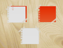 Paper on a wooden background. Vector illustration Stock Images