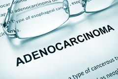Paper with word adenocarcinoma and glasses. Royalty Free Stock Images