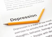 Paper with word depression and broken pencil Royalty Free Stock Photos