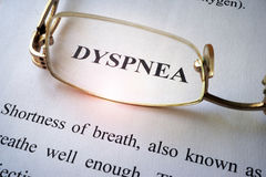 Paper with word dyspnea. Royalty Free Stock Photography
