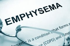 Paper with word emphysema and glasses. royalty free stock photo