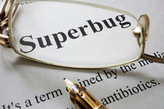 Paper with word superbug and glasses. Royalty Free Stock Image