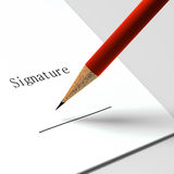 Paper with the words. Signature and pencil Royalty Free Stock Image