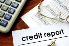 Paper with words credit report Royalty Free Stock Image