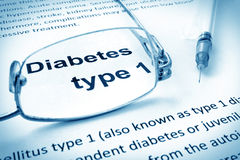 Paper with words diabetes type 1 Royalty Free Stock Photo