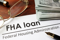 Paper with words fha loan royalty free stock photography