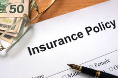 Paper with words insurance policy form Stock Photography