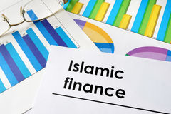 Paper with words Islamic finance. Royalty Free Stock Photos