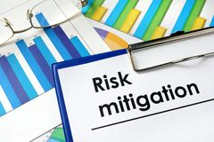 Paper with words Risk mitigation. Royalty Free Stock Image