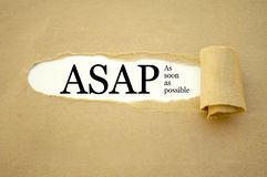 Paper work with ASAP  As soon as possible royalty free stock images