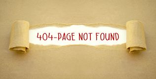 Paper work with error message 404 page not found stock photo