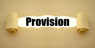 Paper work with the german word for commission - Provision stock photos