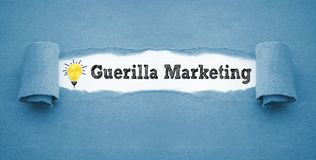 Paper work with guerilla marketing stock photos