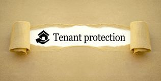 Paper work with icon house and hand with tenant protection stock image