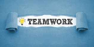 Paper work with light bulb and teamwork stock images